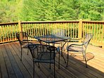 Outdoor dining on open deck