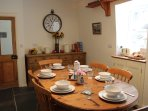 Breakfast Room off of the kitchen, original features, slate flooring, solid wood furniture