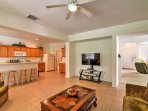The main living area comes equipped with a flat-screen TV, allowing you to keep up-to-date with your favorite shows ...
