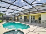 You'll love the privacy afforded in this outside pool area, which also offers a relaxing Jacuzzi pool - ideal for ...