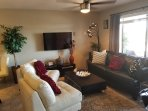 Cozy Luxury Living/ Entertainment area Smart TV,  Pull out Sofa Bed, Ceiling Fan