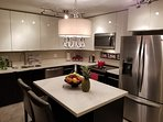 Kitchen with Island Quartz counters