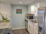 The space is newly renovated with stainless steel appliances and beautiful granite counters.