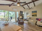 The spacious 1,200-square-foot property offers stunning views of the forest from the deck and a beautifully furnished...
