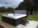 10 hp Alberta hot tub with seating for 10 people, all seats work at the same time, Bluetooth fitted.