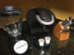 Blender for Frozen Drinks and Keurig Coffee Maker. Full Size Coffee Maker on the other Counter.