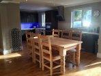 Farmhouse table, wheelchair friendly... seats 6-8