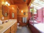 Master bathroom with a huge bathtub