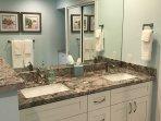 Master bath dual vanity sinks