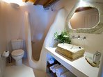The family suite shared bathroom