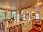 Meal prep is easy as pie with stainless steel appliances and ample counter space.