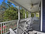 Enjoy your morning coffee with a cool breeze on the front porch.