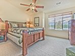Bedroom 2 with a Queen Bed, Flat Screen TV, Mountain Views, and Shared Bath Access