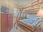 Bedroom 3 with a Twin over Full Bunk Bed, Flat Screen TV and Shared Bath Access