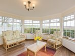 bright sunroom with stunning views over the ythan valley