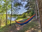 Enjoy peace and quiet while napping in the hammock.