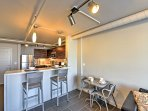 Enjoy a warm cup of coffee in the mornings at the 2-person breakfast bar.