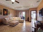 Living room, backyard and master bedroom