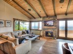 Living room with beautiful lake views