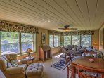 The sunny family room offers spectacular views of the Dolores River Valley and the Bear Creek drainage.