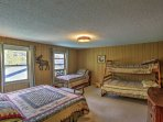 The family bedroom offers a king bed, twin bed with trundle and twin-over-full bunk bed!