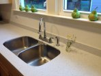 Brand new steel double sink, faucet and counter