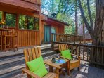 Nice spacious deck with plenty of seating and creek views.