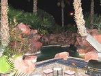 Pool resort area at night
