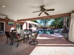 Covered patio with fan and flatscreen TV!