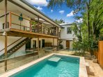 Private swimming pool and rear patio