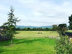Views out across to the Malvern Hills from Hill View Lodge