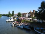 Along the banks of the River Severn in the lively town of Upton, less than 3 miles away.
