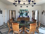 dining room with feature domed ceiling and chandelier