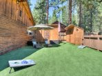 Relax in the shade or enjoy a game of cornhole