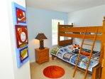 Bedroom 5 - triple bunk bed (double with single on top) & TV (sleeps 3)