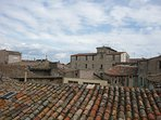 view of Pezenas old town roof tops from terrace