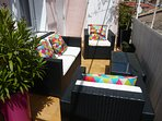 sunny terrace to enjoy your morning coffee or a glass of the local wine at the end of your day