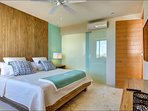 Master bedroom, king bed, full bathroom, safe, hair dryer and iron