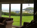 View from living room through the french windows with views across Newport bay.
