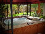 Enjoy the 8 person hot tub as you look over the golf course and desert landscape.