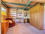 Put up the Murphy bed for additional space in the reading nook.