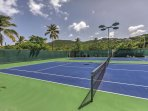 Grab a partner and play a game of tennis for an afternoon workout.