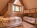 Rest up in the full bed or one of the twin bunk beds.