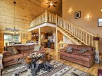 With 2,900 square feet of rustic living space, this home welcomes 8 guests to enjoy a peaceful mountain escape.