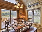 Bring the whole group together for a hearty feast around this rustic dining table.