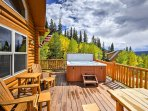 Sink into the steamy hot tub as you marvel at the surrounding mountains.