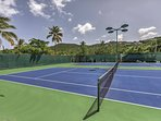 Get in an afternoon workout on the community's tennis courts.