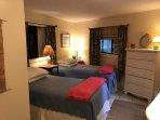refinished basement bedroom