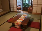 Private Japanese garden outside Tatami mat room.