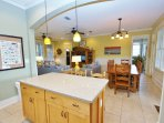 Kitchen Opens Up to Dining and Living Area